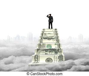 reaching, деньги, вверх, clou, cityscape, бизнесмен, лестница