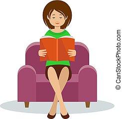 reads, женщина, молодой, стул, сидящий