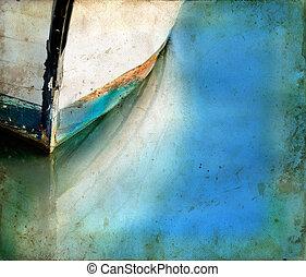 reflections, гранж, лодка, задний план, лук