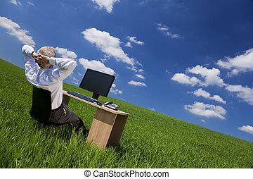 relaxing, офис, поле, зеленый, стол письменный, человек