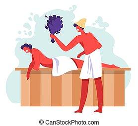 relaxing, пара, купальня, или, спа, сауна, procedures