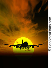 @, rendered, закат солнца, место действия, самолет