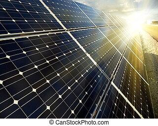 renewable, солнечный, мощность, с помощью, энергия, растение