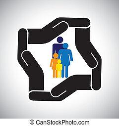 represents, графический, kids, семья, авария, защита, и т.д, также, концепция, безопасность, отец, vector., мама, здоровье, страхование, или