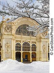republic.winter, фрагмент, время, marianske, (marienbad), колоннада, город, спа, lazne, чешский