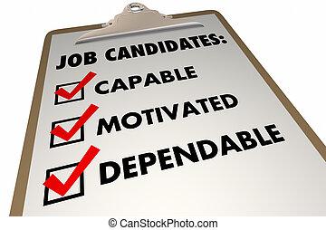 requirements, контрольный список, иллюстрация, работа, candidates, qualities, интервью, 3d