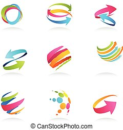 ribbons, абстрактные, arrows, icons