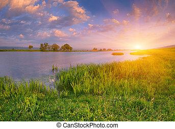 river., восход, пейзаж, утро