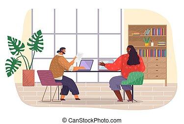 room., портативный компьютер, наемный рабочий, набрав, workers, shows, sits, dark-skinned, документ, офис, holds, девушка