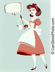 room., суп, иллюстрация, молодой, вектор, готовка, кухня, ее, домохозяйка