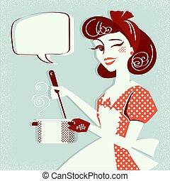 room., суп, иллюстрация, портрет, вектор, готовка, кухня, ее, домохозяйка