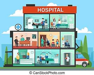 rooms., крайняя необходимость, медицинская, офис, вектор, комната, врач, здание, ожидание, мультфильм, хирургия, интерьер, больница, иллюстрация, doctors, клиника