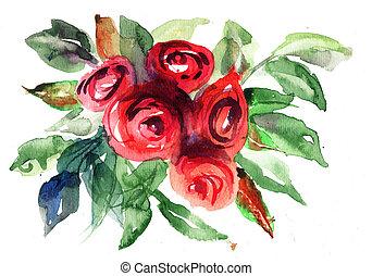 roses, картина, акварель, цветы, красивая