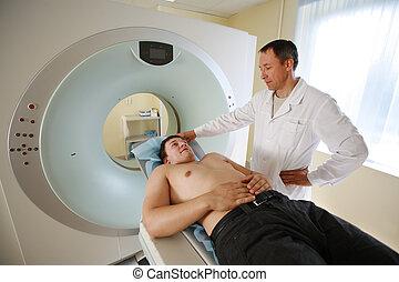 scanner., пациент, сканирование, врач, кот, готов, коннектикут