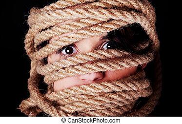 scared, женщина, вверх, tied, face.
