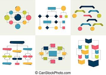 schemes, просто, 6, flowcharts., diagrams., задавать, цвет, infographics, charts, editable., elements., течь