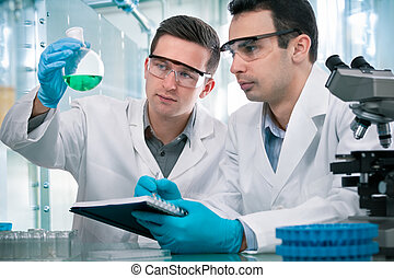 scientists, за работой, лаборатория, исследование