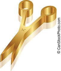 scissors, значок, вектор, золото, 3d