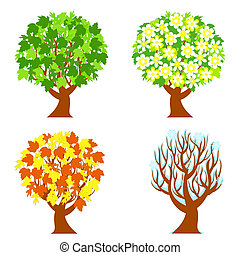seasons, 4, trees