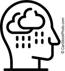self-esteem, глава, значок, стиль, дождь, контур