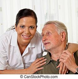 seniors, homes, уход, пожилой, медсестра, забота
