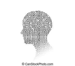 shape., иллюстрация, background., доска, схема, high-tech, человек, технологии, 3d