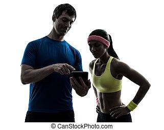 silhou, женщина, таблетка, цифровой, тренер, человек, фитнес, с помощью, exercising