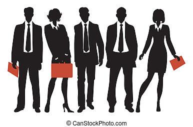 silhouettes, бизнес, люди
