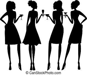 silhouettes, вечеринка, коктейль