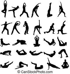 silhouettes, девушка, exercising