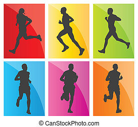 silhouettes, задавать, марафон, runners, человек