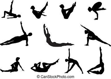 silhouettes, за работой, вне, pilates