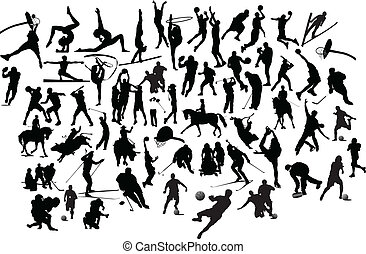 silhouettes., иллюстрация, вектор, черный, коллекция, белый, спорт