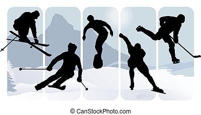 silhouettes, спорт, зима