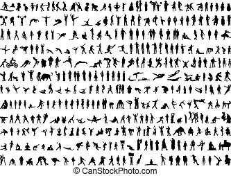 silhouettes, человек, hundreds