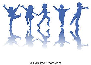 silhouettes, children, счастливый