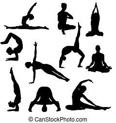 silhouettes, poses, йога