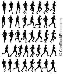 silhouettes, runners, марафон
