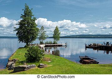 siljan, озеро, утро, лето