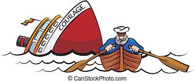 sinking, корабль, капитан, спасаясь