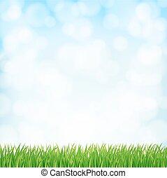sky., вектор, весна, задний план, трава, зеленый