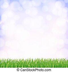 sky., весна, вектор, зеленый, задний план, трава