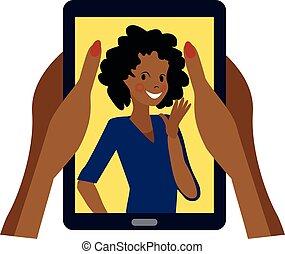 smiles, держа, волна, руки, экран, девушка, кожурой, темно, смартфон, большой