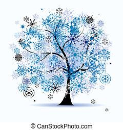 snowflakes., дерево, holiday., зима, рождество