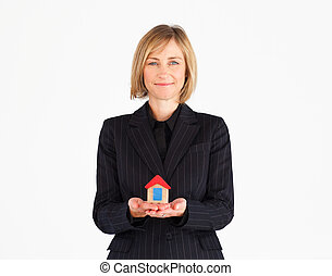 solution, дом, зрелый, менеджер, presenting, женский пол, бизнес
