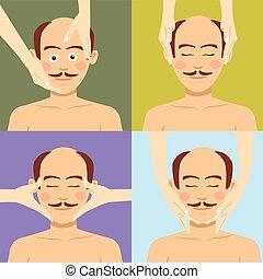 spa., вверх, плешивый, лицевой, человек, having, массаж, посмотреть