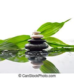 stones, пирамида, leaves, дзэн, поверхность, зеленый, над, waterdrops