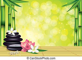 stones, спа, бамбук, цветы, задний план