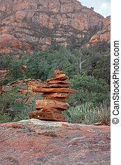 stones, landscape., sedona, пеший туризм, rocks, след, аризона, balancing, гармония, спокойный