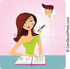 studying, девушка, daydreaming, в то время как